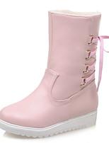 Mujer-Tacón Plano-Botas de Nieve-Botas-Vestido / Casual-Semicuero-Negro / Rosa / Beige