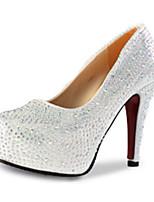 Damen-High Heels-Lässig-PU-Stöckelabsatz-Absätze-Rot / Silber