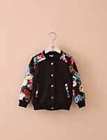 Girl's Casual/Daily Floral Blouse / Suit & BlazerCotton Spring / Fall Black / White