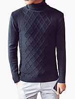 Men's Fashion Turtlenecks Diamond Casual Slim Fit Knitting Pullover Sweater;Causal/Plus Size