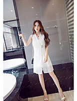 Women's Going out Simple Summer Set,Solid V Neck Sleeveless White / Black Polyester Sheer / Thin