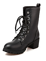 Women's Boots Spring / Fall / Winter Fashion Boots / Combat Boots Leatherette Outdoor /Casual Chunky Heel Lace-upBlack