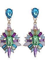 Earring Geometric Jewelry Women / Girls Fashion Daily / Casual Rhinestone / Gold Plated 1 pair Blue / Green