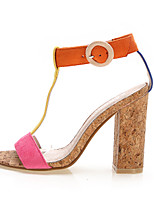 Women's Shoes Fabric Chunky Heel Heels Sandals Office & Career / Dress / Casual Blue / Yellow / Red