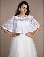 Women's Wrap Shrugs Sleeveless Lace White Wedding / Party/Evening Scoop 30cm Lace Open Front / Hidden Clasp