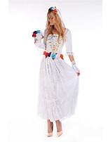 Costumes Zombie / Esprit Halloween / Carnaval / Fête d'Octobre Blanc Vintage Térylène Robe / Gants / Coiffure