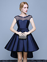 Cocktail Party Dress Ball Gown Jewel Asymmetrical Lace / Satin with Lace / Sash / Ribbon