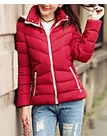 Women's Solid Red Padded CoatSimple Hooded Long Sleeve