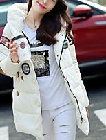 Women's Print White Padded CoatSimple Hooded Long Sleeve