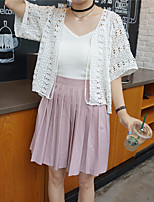 Women's Going out / Casual/Daily Cute Regular Cardigan,Solid White V Neck ½ Length Sleeve Cotton / Polyester Summer Thin