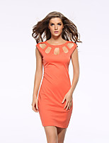 Women's Work / Plus Size Sexy Bodycon Dress,Solid Round Neck Above Knee Sleeveless Orange Polyester Summer