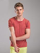 Mr D® Men's V Neck Short Sleeve T Shirt Black / Yellow / Peach-593