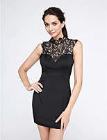 TS Couture® Cocktail Party Dress Sheath / Column High Neck Short / Mini Jersey with Lace