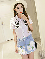 Boutique S Women's Casual/Daily Street chic Summer Set Pant,Print Shirt Collar Short Sleeve Cotton / Polyester Thin