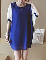 Women's Plus Size Simple T Shirt Dress,Color Block Round Neck Midi ½ Length Sleeve Blue / Pink / Black Cotton Summer Mid Rise