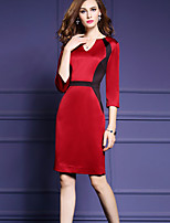 Women's Plus Size / Going out Sexy Sheath Dress,Color Block V Neck Knee-length ¾ Sleeve Red Nylon Spring / Fall