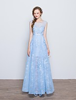 Formal Evening Dress A-line Scoop Floor-length Lace with Appliques / Bow(s) / Lace / Sash / Ribbon