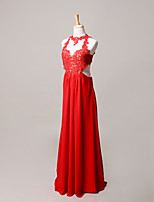 Prom / Formal Evening Dress Sheath / Column Halter Sweep / Brush Train Velvet Chiffon with Beading / Lace