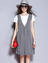 Sybel Women's Going out / Street chic Loose Dress,Check Deep V Knee-length Short Sleeve Black Summer / Fall