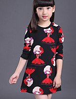 Girl's Casual/Daily Print Dress,Cotton Summer / Spring / Fall Black / White