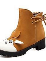 Chaussures Femme-Bureau & Travail / Habillé / Décontracté-Noir / Marron / Jaune / Beige-Plateforme-Rangers / Bout Arrondi / Bottes à la