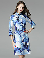 Boutique S Women's Casual/Daily Vintage Shift Dress,Floral Crew Neck Knee-length ¾ Sleeve Blue / White Polyester Fall