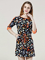 Boutique S Women's Casual/Daily Cute Shift Dress,Print Round Neck Above Knee ½ Length Sleeve Black Silk Fall