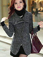 Women's Casual/Daily Simple Coat,Solid Shirt Collar Long Sleeve Fall / Winter Gray Polyester Thick