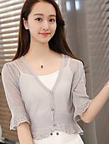 Women's Casual/Daily Simple Short Cardigan,Solid  V Neck ¾ Sleeve Cotton Spring Medium