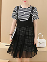 Women's Plus Size / Going out / Casual/Daily Simple Summer Set,Striped Round Neck Short Sleeve Black Cotton Thin