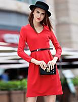 Gaine Robe Aux femmes Sortie Vintage,Couleur Pleine Col en V Au dessus du genou Manches Longues Rouge / Noir Coton Printemps / Automne