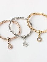 Bracelet Chain Bracelet Alloy / Zircon Round Fashion Jewelry Gift Gold / Rose / Silver,1set