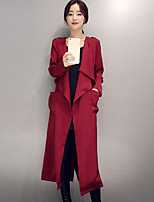 Women's Going out Street chic Trench Coat,Solid Shirt Collar Long Sleeve Fall Red / Black Polyester Medium