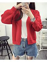Damen Standard Strickjacke-Lässig/Alltäglich Einfach Solide Blau / Rosa / Rot / Weiß / Grau V-Ausschnitt Langarm Baumwolle Frühling Mittel