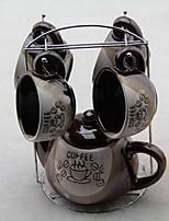 clásicos tazas de café de cerámica tazas de té conjunto (1 olla de 4 tazas con colores al azar portavasos)