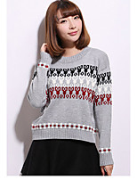Women's Going out / Cute Regular Pullover,Print White / Gray Round Neck Long Sleeve Others Spring / Fall Medium