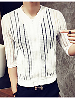 Men's Striped Casual Cardigan,Cotton / Polyester Long Sleeve White