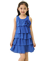 Girl's Going out Solid Dress,Cotton Summer Blue / Red / Yellow