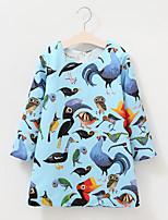 Girl's Cotton Spring/Autumn Fashion Print Long Sleeve Cute Dress