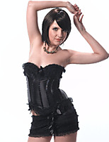 Tight Black Bow Palace Overbust Corset Spandex  Zipper Bra Corset + Skirt Corset Set