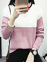 Women's Going out Simple Regular Pullover,Color Block Red / Black Round Neck Long Sleeve Cotton Fall Medium