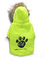Gatos / Perros Abrigos Verde Invierno Flores / Botánica Mantiene abrigado, Dog Clothes / Dog Clothing-DroolingDog