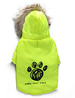 Katzen / Hunde Mäntel Grün Winter Blumen / Pflanzen warm halten, Dog Clothes / Dog Clothing-DroolingDog
