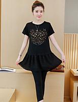 Women's Casual/Daily Simple Summer T-shirt Pant,Print Round Neck Short Sleeve  Medium