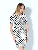 Boutique SWomen's Casual/Daily Street chic Shift Dress,Polka Dot Round Neck Above Knee Short Sleeve Polyester Summer