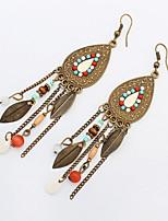 2016 Vintage Fashion Long Tassel Earrings Retro Bohemian Beaded Oval Leaves Dangle Earrings For Women Boucle
