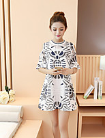 Maternity Casual/Daily Simple Loose Dress,Print Round Neck Above Knee Short Sleeve White Cotton Summer