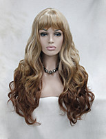 Fashion Ombre Light Strawberry Blonde mix Auburn Skin Top Curly Wavy Long Bangs Wig