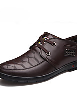 Men's Flats Spring / Summer / Fall Round Toe / Flats Leather Outdoor / Office & Career / Casual Flat Heel Others Black