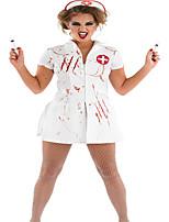 Costumes Uniformes Halloween Blanc Couleur Pleine / Imprimé Térylène Jupe